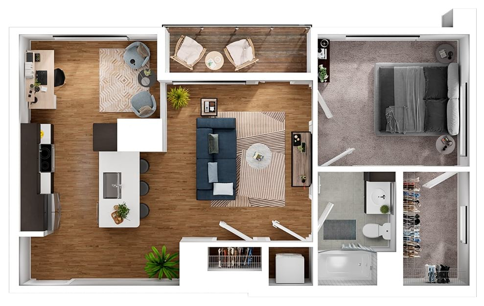 A5D - 1 bedroom floorplan layout with 1 bath and 818 square feet. (3D)