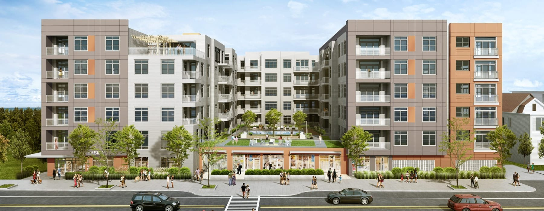 BLVD at Revere Beach exterior rendering with street and people walking along the sidewalk
